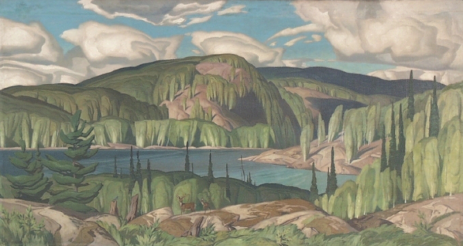 A painting depicts a summer scene, including a lake surrounded by green hills and trees.