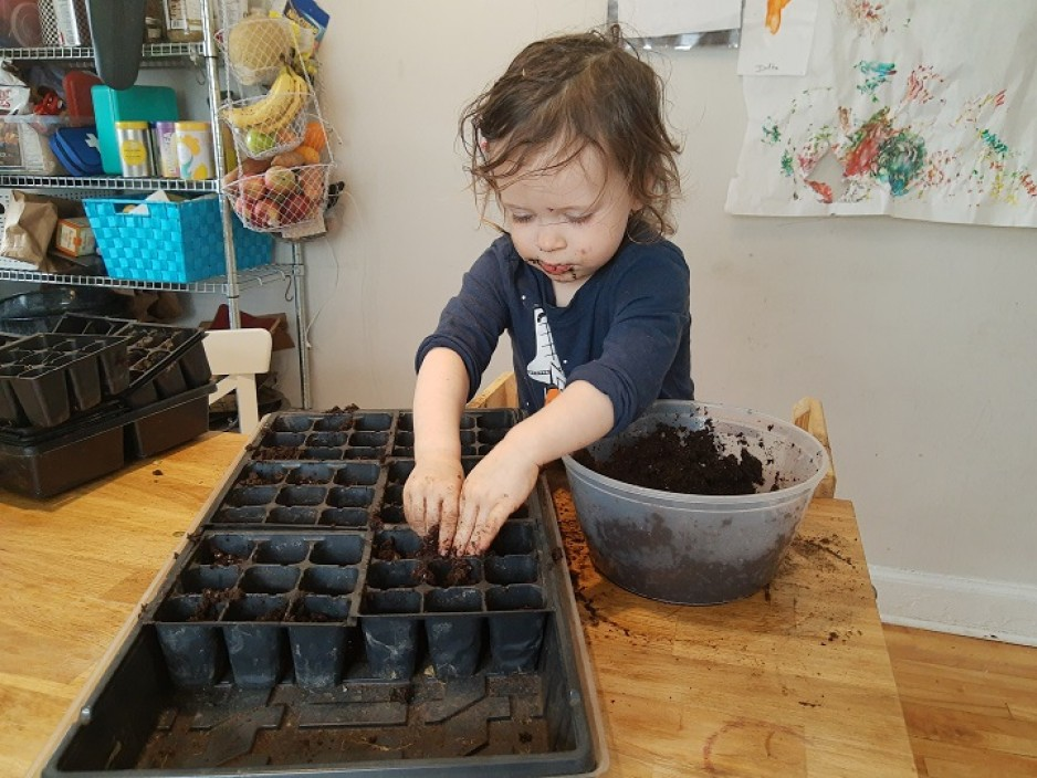 Child adds soil to tray