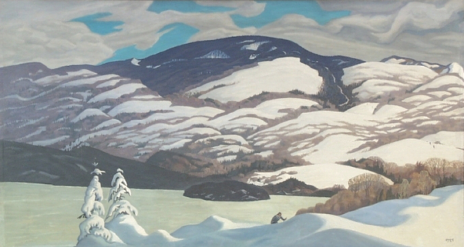 A painting, in soft blue and white colours, depicts a snowy mountain scene.
