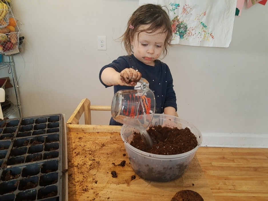 Child pouring water into soil