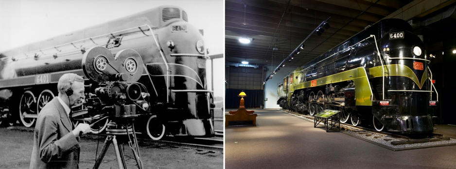 (left) Black and white photograph of a locomotive. A man with a vintage video camera in the foreground. (right) Modern photo of a black locomotive with green accents, on display in the Canada Science and Technology Museum.