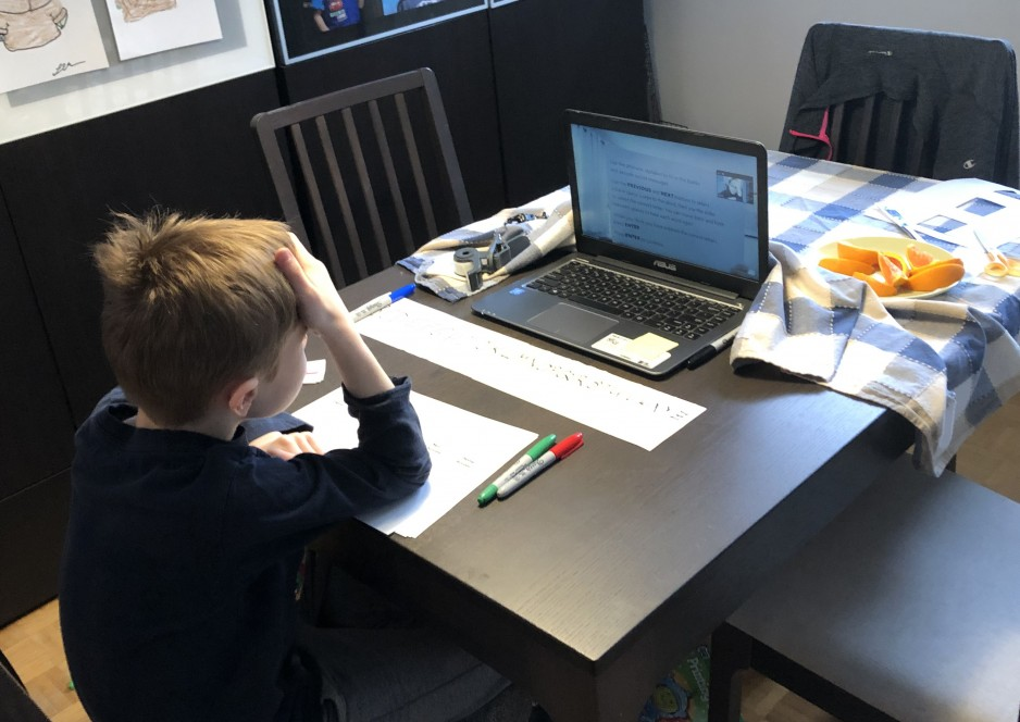 A boy, his back to the camera, is seating at a dining table in front of a laptop, taking part in an online testing session.