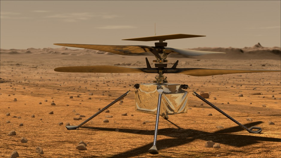 An artist's rendering of Ingenuity, a small drone-like helicopter, sitting on the surface of Mars.