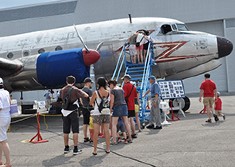 Visitors lining up to see the Canadair North Star