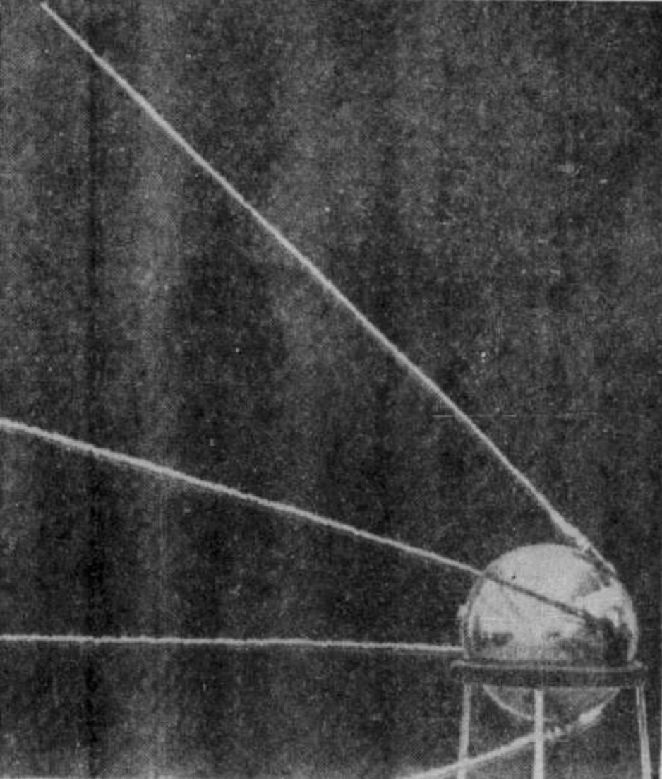 The first official photograph of the Soviet artificial satellite Sputnik I. Anon., « Le 'bébé-lune' soviétique. » La Presse, 9 October 1957, 1.