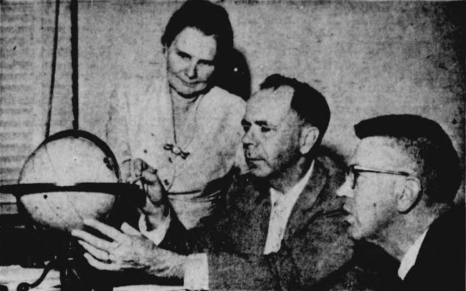 "The 3 staff members of the David Dunlap Observatory who predicted the time of at least one passage of the first Soviet satellite over Toronto, Ontario. Left to right, Helen Battles Sawyer Hogg, John Frederick Heard and Donald Alexander McRae, Richmond Hill, Ontario. Anon., ""–."" Le Nouvelliste, 9 October 1957, 10."