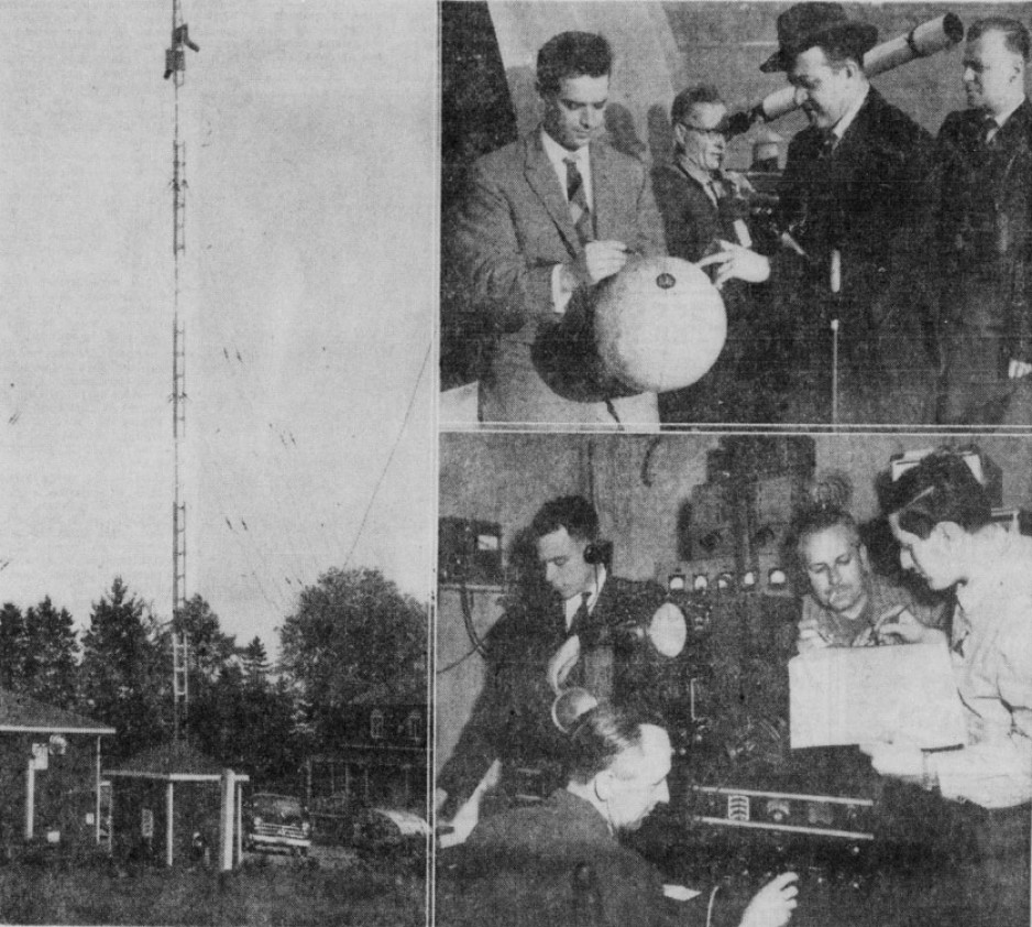 "In the photo on the left, the L'Ancienne-Lorette radio station. Top right, a quartet involved in the Baby observation project: Maurice Drolet, Paul Henri Nadeau, Robert Lévesque and J. Alfred Dumont. Bottom right, Drolet and a trio involved in this same project: Bernard Côté, Félix Edge and Bernard Baby. Anon., ""Les astronomes de Québec aux aguets."" Le Soleil, 14 October 1957, 13."