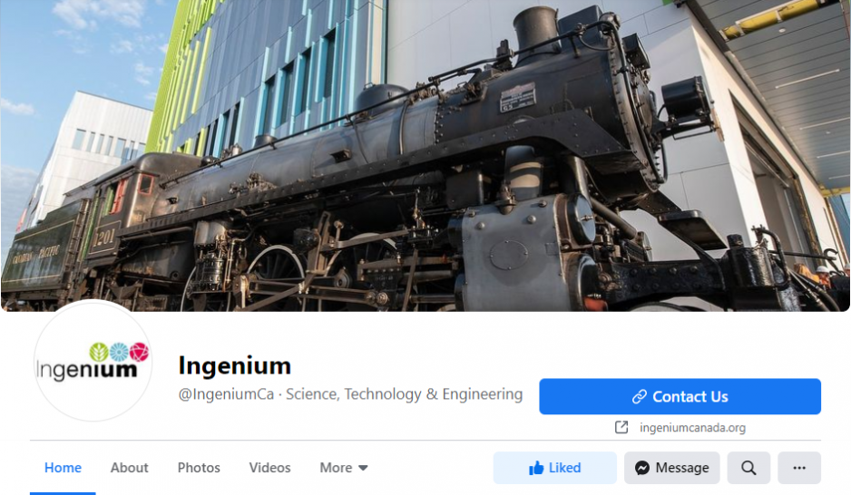 A screen shot of the Ingenium Canada Facebook page. The header image shows a close up of a locomotive with the Ingenium Centre building in the background