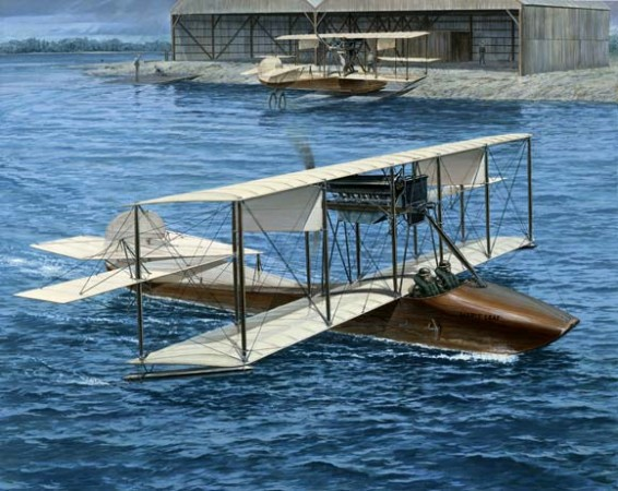 "The Maple Leaf, a Curtiss Model F flying boat of the Curtiss Flying School, Hanlan's Point, Toronto, Ontario, circa 1915. Robert William Bradford, Curtiss ""F"" Flying Boat: the Maple Leaf."