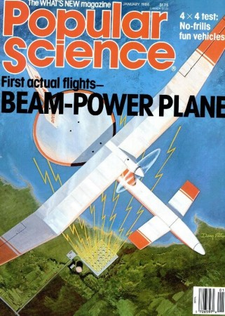 "The SHARP-6 in flight. This unpiloted aerial vehicle seemingly flew using batteries rather than microwaves to provide the electricity needed by the motor. Anon., ""First actual flights – Beam-powered plane."" Popular Science, January 1988, cover."