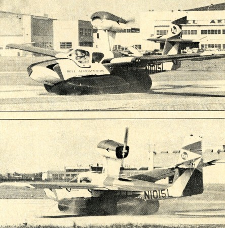 "The Lake LA-4 fitted with an experimental air cushion landing gear by Bell Aerospace Corporation, Niagara Falls, New York, 1967. Anon. ""Bag down and inflated…"" Air Progress, March 1968, 47."