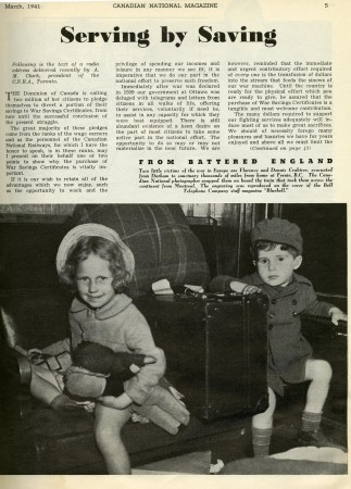 "CN magazine, 1941. Article: ""Serving By Saving"""