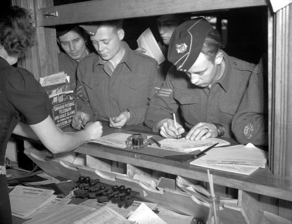 Soldiers send telegrams at Bonaventure Station, Montreal, 1942.