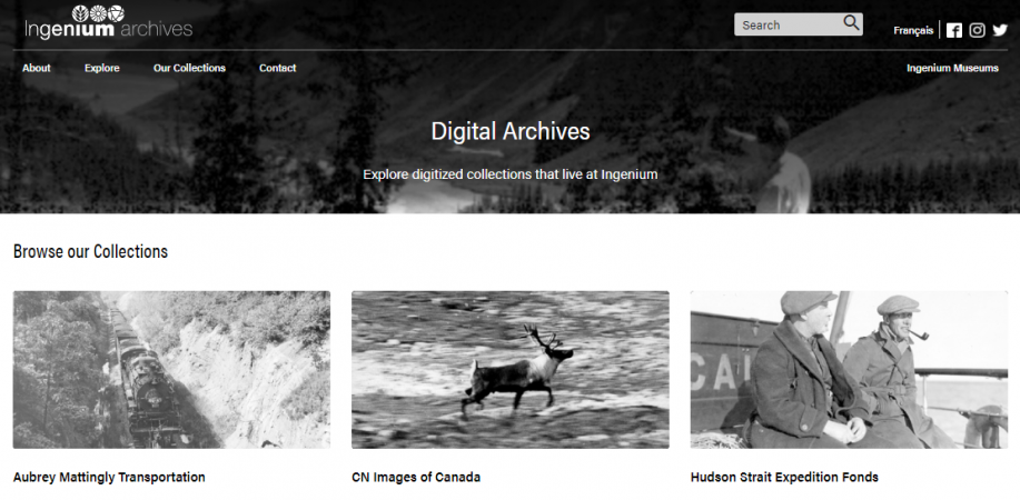 Screen capture of the Digital Archives welcome page.