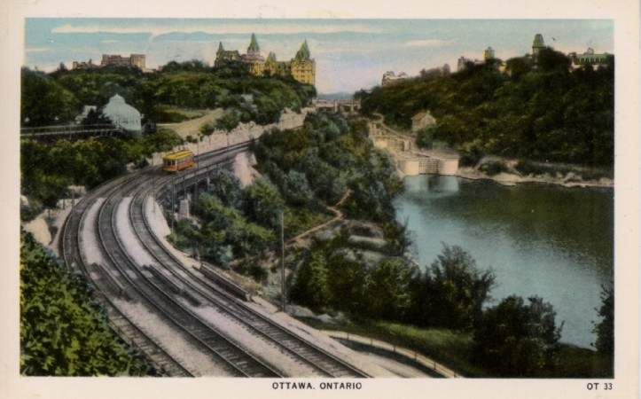 A colour post card showing a rail bridge in Ottawa, Ontario, Canada.