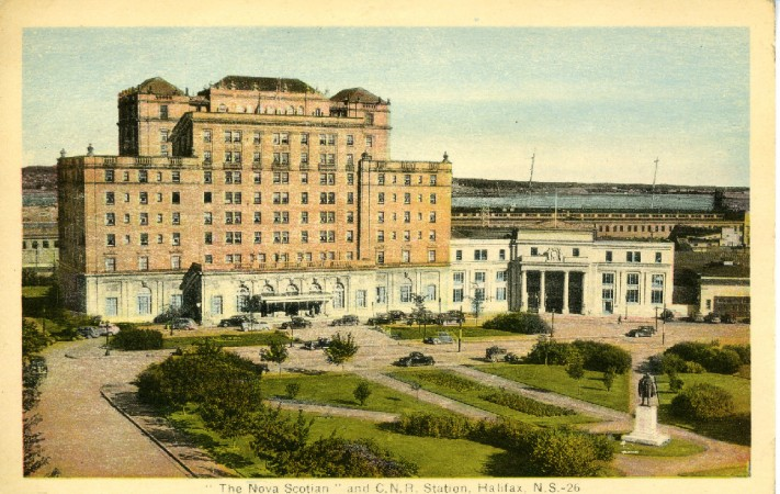 Colour post card showing 'The Nova Scotian' hotel and rail station in Halifax, Nova Scotia.