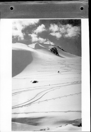 Black and white photograph showing a skiier on Signal Mountain, near Jasper, Alberta.