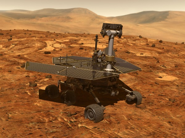 An artist's impression of the Opportunity Rover.