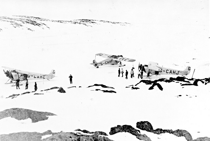Black and white photograph of three airplanes from the Expedition