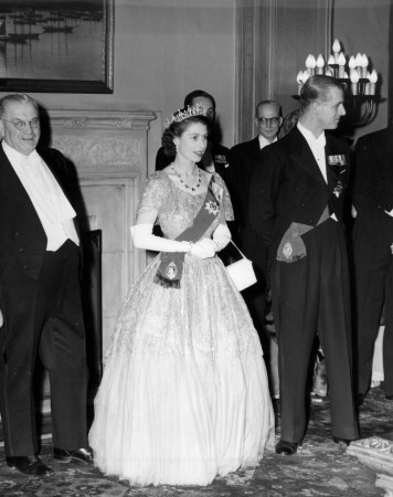 Princess Elizabeth and the Duke of Edinburgh in Charlottetown during their coast-to-cost tour of Canada. Royal Tour, Charlottetown Hotel, PEI, 1950.