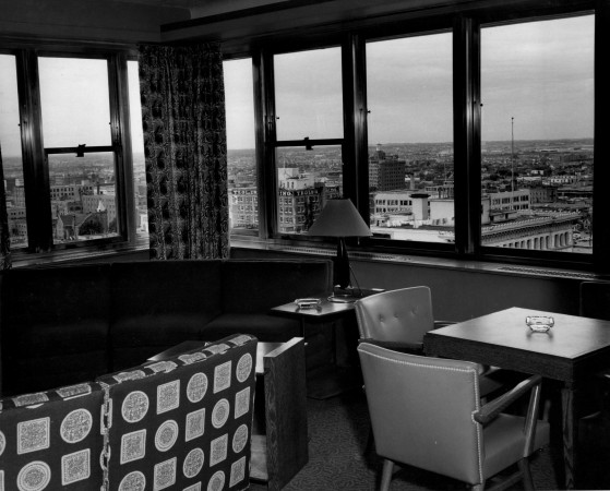 View of Edmonton from the Crown Suite at the Macdonald Hotel, in 1953