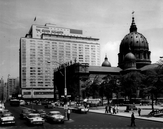 Exterior of the Queen Elizabeth Hotel, Montreal, on July 24, 1959