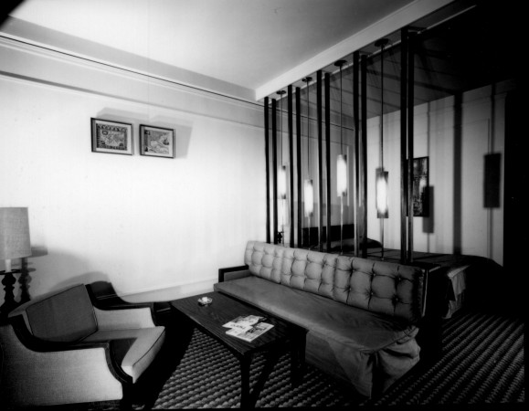 A double bedded studio room with screen, Hotel Vancouver, 1965