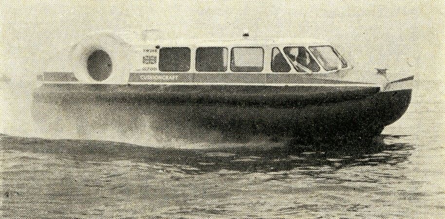 "The prototype of the Cushioncraft CC7 light utility hovercraft during its sea trials, Saint Helens, Isle of Wight, England. Anon., ""ACVs – CC7 on sea trials."" Aeroplane, 22 May 1968, 27."