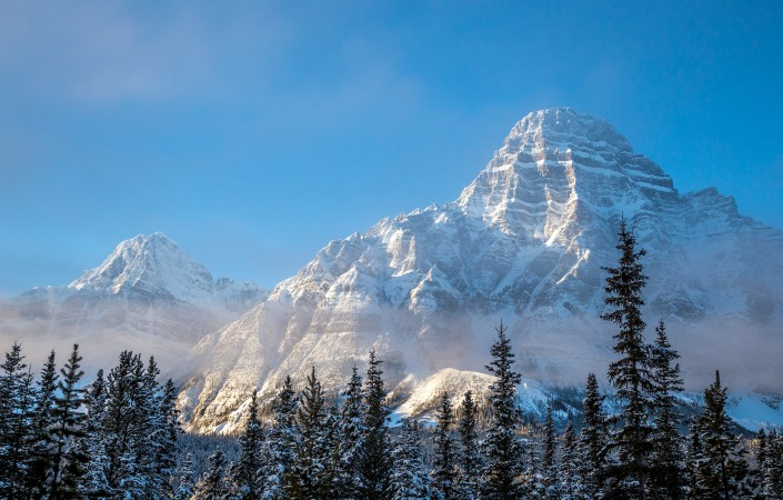 At 3, 307 meters, Mount Chephren in Banff National Park towers over the surrounding valley.