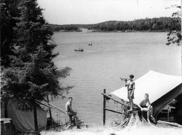Boys at a camp site in Algonquin Park