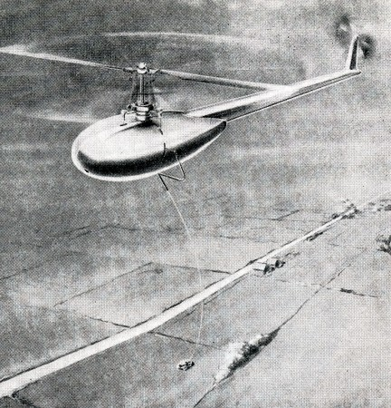 Un hélicoptère sans pilote entravé Duncan & Bayley XP-2 Skyhook. Anon., « Rotary wing world – Captive helicopter for research work ». Aero Digest, août 1948, 70.