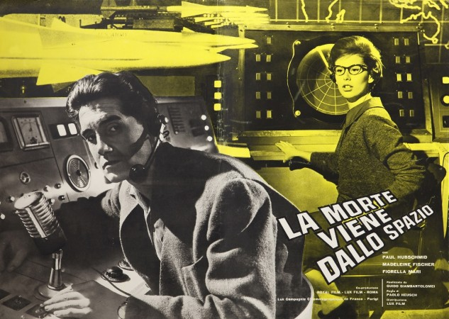 A poster of the Italian-French movie La morte viene dallo spazio. We see 2 members of the control centre's team: the unsavoury French researcher and the pretty but cold mathematician.