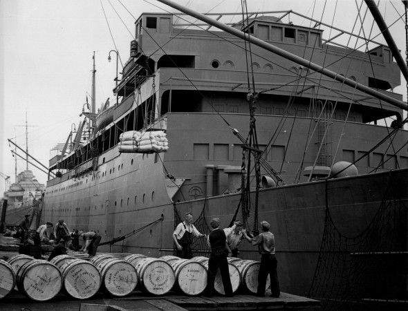 Loading supplies on the SS Lady Hawkins, docked at Halifax Harbour
