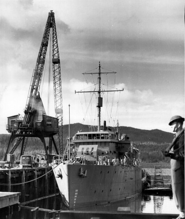 Newly constructed naval vessel at Prince Rupert Drydock, British Columbia