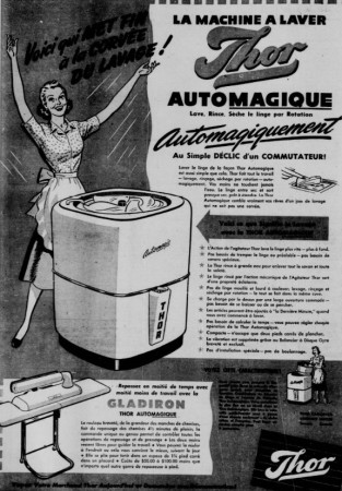 "A Thor Automagic combined dishwasher and washing machine. Anon., ""Advertising – Thor Canadian Company Limited."" La Patrie, 20 November 1948, 4."