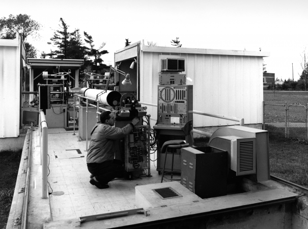 A scientist at the Photo Zenith Transit Building (PZT), about 1963.