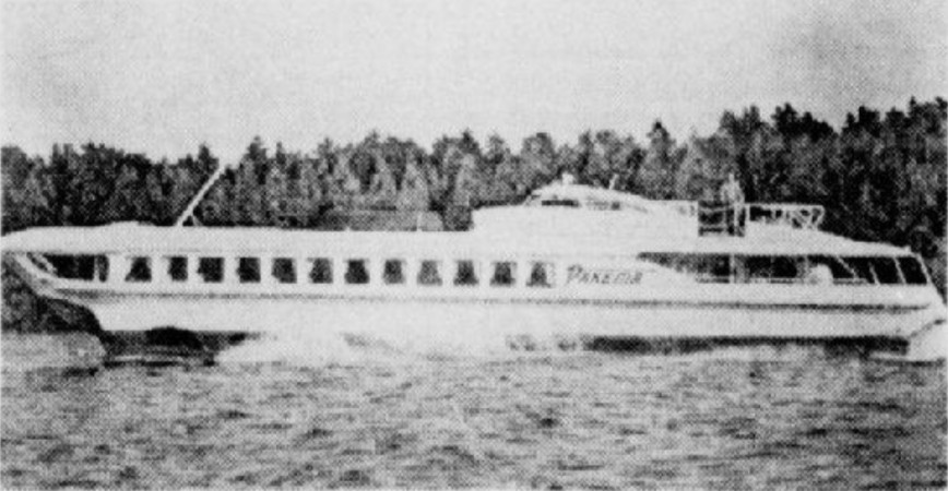 "The Raketa class Soviet hydrofoil in which J. Roland Leduc and his wife went from Montréal, Québec, to Port of Spain, Trinidad. Jacques Maher, ""Un Canadien français vend des bateaux russes à Trinidad"". Le Petit Journal, 8 December 1968, 14."