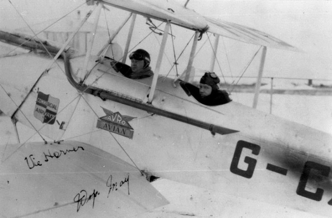 "Wilfrid ""Wop"" May and Victor Horner in an Avro Avian, 1920s"
