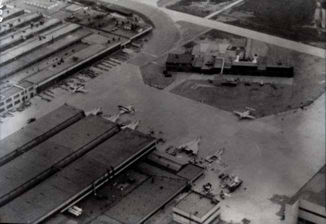 A black-and-white image showing an overhead view of five of the Arrows.