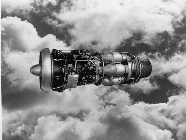 Publicity photograph of an Orenda engine against cloud background