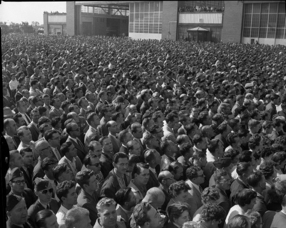Photograph of a crowd of Avro employees waiting for the launch of the Avro Arrow