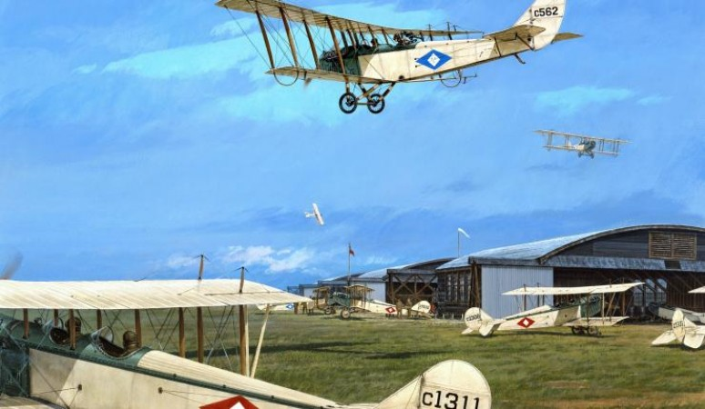 Curtiss JN-4 (Can.) and JN-4a airplanes during First World War. Artist: Robert W. Bradford Date: ca. 1966. Source: Ingenium 1967.0891