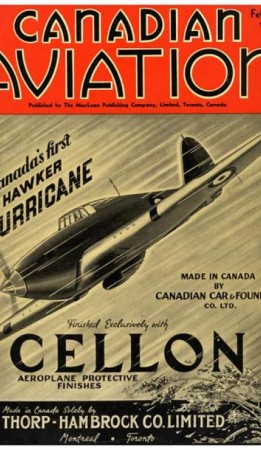 Cover of Canadian Aviation magazine featuring the first Canadian-made Hawker Hurricane, February 1940. Source: Ingenium