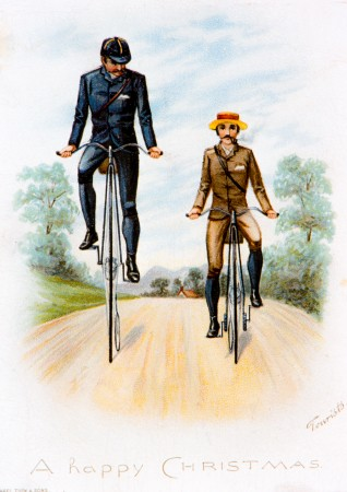 Postcard showing the difference between a high wheel Ordinary and a smaller, safer Ordinary.