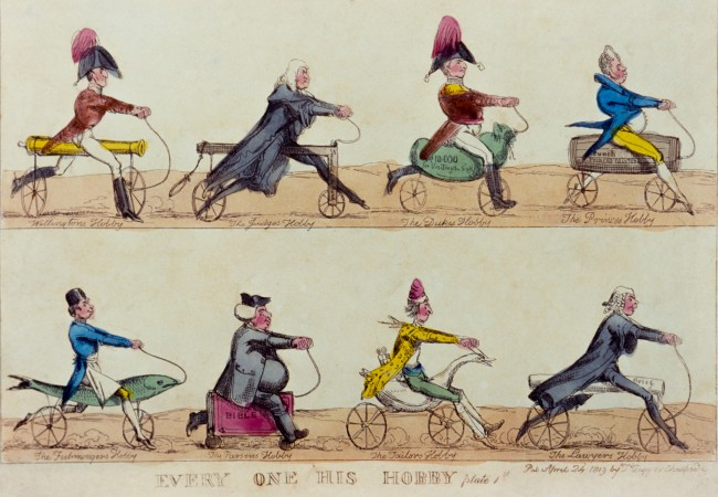 Eight cyclists ride machines thought to represent their particular professional Hobby Horse.
