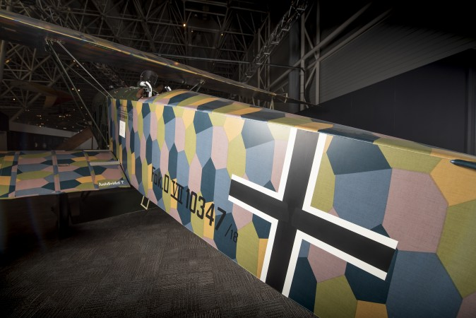 A close-up view of the Fokker D.VII, now on the floor at the Canada Aviation and Space Museum.