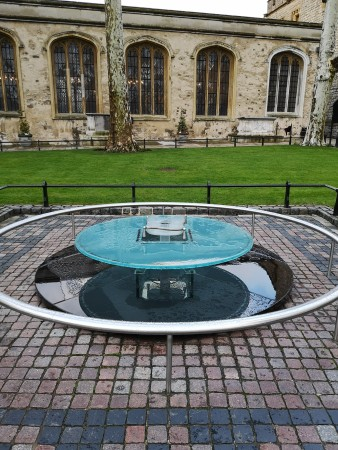 A monument on the Tower Green marking the place of execution of two of Henry VIII's wives, Anne Boleyn and Catherine Howard.