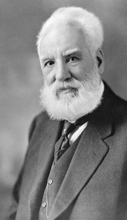 Alexander Graham Bell was highly interested in hearing and speech, a passion which led to his invention of the telephone. Source: Library and Archives Canada. Author: Moffett Studio.