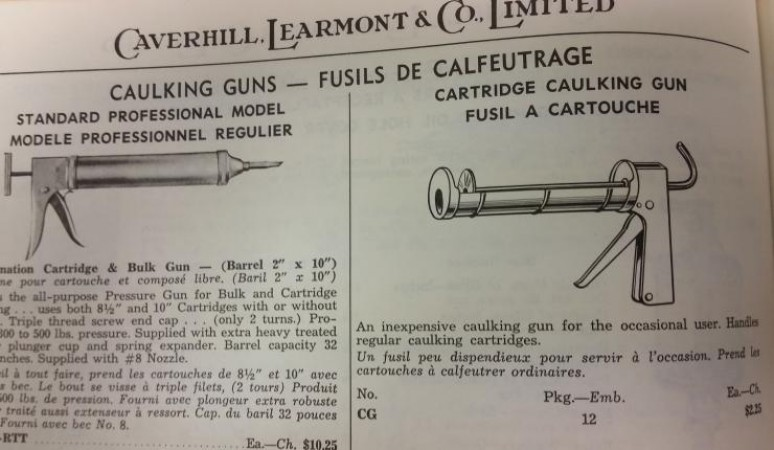 Illustrations of caulking guns in the 1960 Caverhill, Learmont & Co., Limited Wholesale Hardware catalogue - provided by the Canada Science and Technology Museums Corporation.
