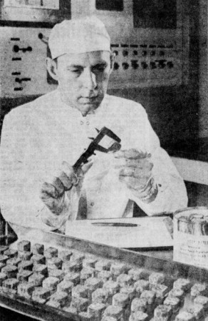 "Robert L. Pavey, director of special foods at Swift & Company, tasting cubes of roast beef, or Moon meatballs, that Apollo program astronauts may have eaten. Anon., ""Space foods, space fashions inspired by Moon."" The Desert Sun, 17 July 1969, 4."